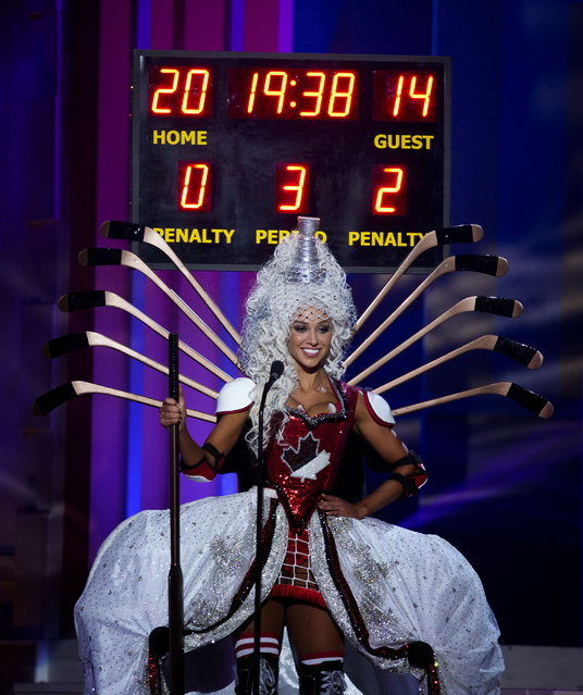Miss Canada, Chanel Beckenlehner, poses for the judges, during the national costume show during the 63rd annual Miss Universe Competition in Miami, Fla., Wednesday, January 21, 2015. (Photo by J. Pat Carter/AP Photo)