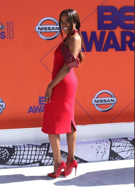 Yvonne Orji arrives at the BET Awards at the Microsoft Theater on Sunday, June 24, 2018, in Los Angeles. (Photo by Willy Sanjuan/Invision/AP Photo)