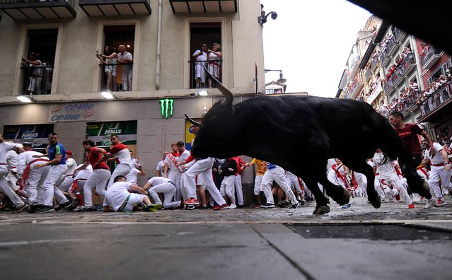 Participants run next to a Puerto de San Lorenzo's fighting bull on the first day of the San Fermin bull run festival in Pamplona, northern Spain on July 7, 2018. (Photo by Jaime Reina/AFP Photo)