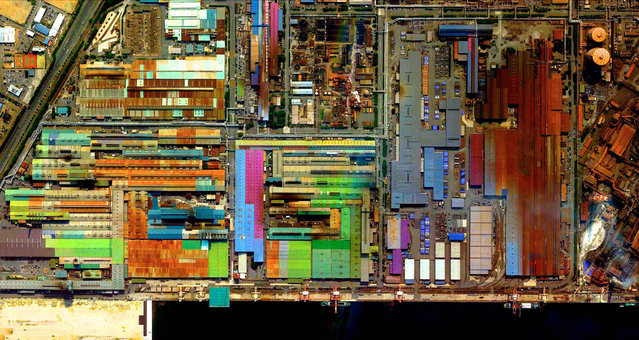 Industrial Sector, Tokai, Japan. (Photo by Benjamin Grant/Digital Globe/Caters News)