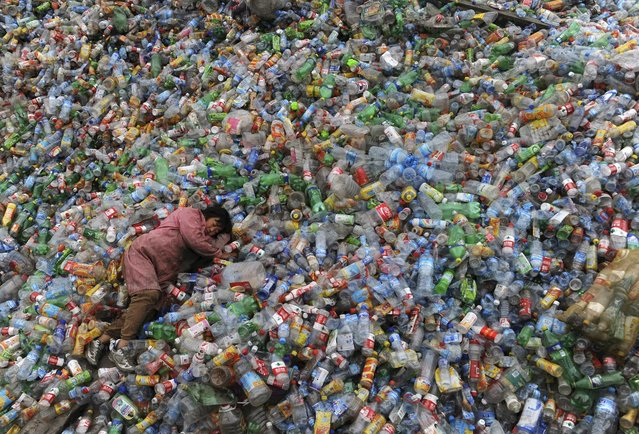 A laborer rests on piles of plastic bottles at a recycling center in Jiaxing, Zhejiang province November 6, 2011. (Photo by Reuters)