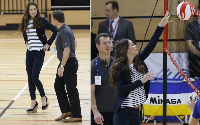 Britain's Catherine, Duchess of Cambridge, plays volleyball as she attends a SportsAid athlete workshop at the Copper Box in the Olympic Park in London October 18, 2013. (Photo by Kirsty Wigglesworth/AP Photo)