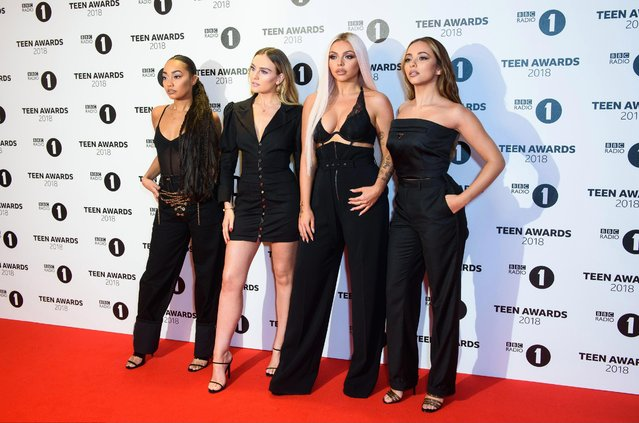 Little Mix stars Leigh-Anne Pinnock, 27, Perrie Edwards, 25, Jesy Nelson, 27, and Jade Thirlwall, 25, arrive the BBC Radio 1 Teen Awards at SSE Arena on October 21, 2018 in London, England. (Photo by Joe Maher/Getty Images)