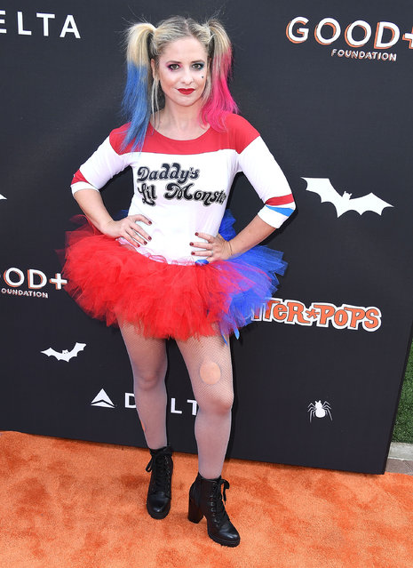 Sarah Michelle Gellar arrives at the Jessica and Jerry Seinfeld's GOOD + Halloween Bash at Sony Pictures Studios on October 28, 2018 in Culver City, California. (Photo by Steve Granitz/WireImage)