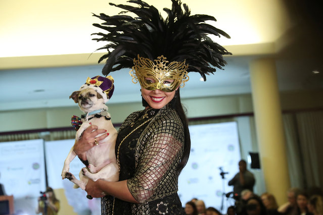 A woman holds a dog on the runway at the 16th annual New York Pet fashion show in New York, U.S., February 7, 2019. (Photo by Shannon Stapleton/Reuters)