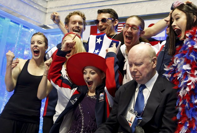 "Gracie Gold (C) of the U.S. reacts with her teammates at the ""kiss and cry"" after an announcement of the victory of the U.S. team at the ISU World Team Trophy in Figure Skating in Tokyo April 18, 2015. (Photo by Yuya Shino/Reuters)"
