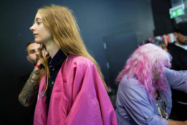 Models prepare backstage of the Bora Aksu show at London Fashion Week Women's A/W19 in London, Britain February 15, 2019. (Photo by Henry Nicholls/Reuters)