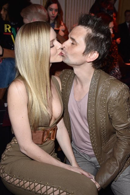 Elle Evans and Matt Bellamy attend the Balmain show as part of the Paris Fashion Week Womenswear Fall/Winter 2016/2017 on March 3, 2016 in Paris, France. (Photo by Pascal Le Segretain/Getty Images)