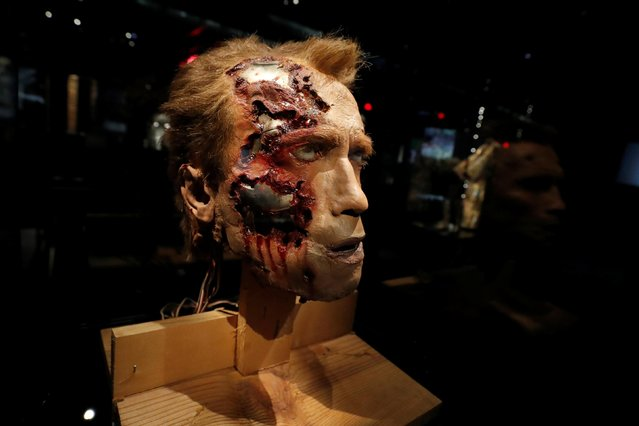 """An animatronic T-800 Terminator head from """"Terminator 2: Judgement Day"""" is seen on display during a media preview ahead of the opening of the Academy Museum of Motion Pictures in Los Angeles, California, U.S., September 21, 2021. (Photo by Mario Anzuoni/Reuters)"""
