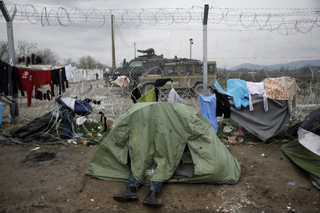 A migrant sits inside a tent next to the border fence at the Greek-Macedonian border, at a makeshift camp for refugees and migrants near the village of Idomeni, Greece March 16, 2016. (Photo by Alkis Konstantinidis/Reuters)