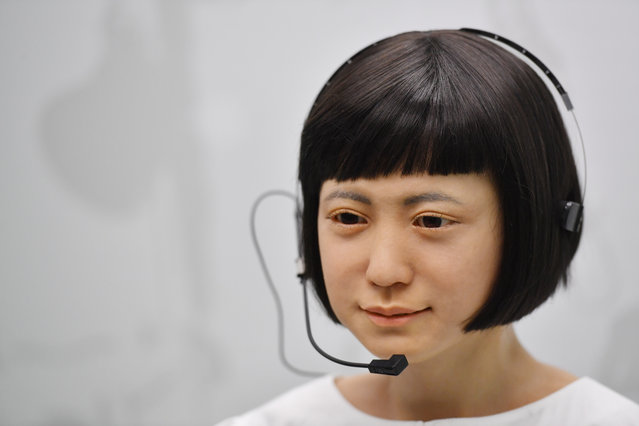 """A robot produced by Japan's Hiroshi Ishiguro Laboratories called """"Kodomoroid"""" Japan 2014 is on view at the ROBOT exhibition at the Science Museum in London on February 7, 2017. (Photo by Ben Stansall/AFP Photo)"""