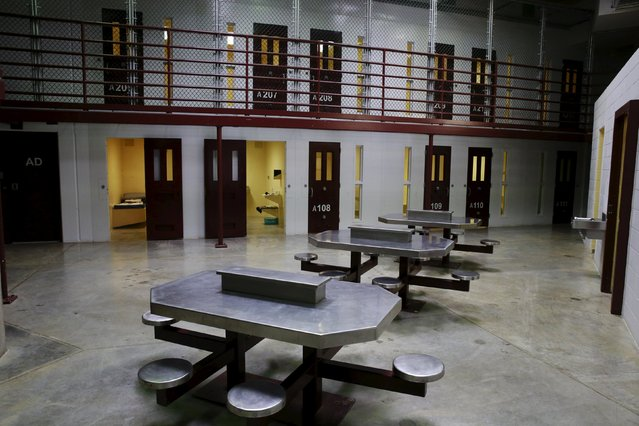 An empty cell block is pictured within Joint Task Force Guantanamo's Camp VI at the U.S. Naval Base in Guantanamo Bay, Cuba March 22, 2016. (Photo by Lucas Jackson/Reuters)