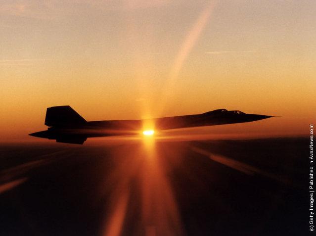 SR-71 Blackbird arial reconnaissance aircraft photographed at sunset