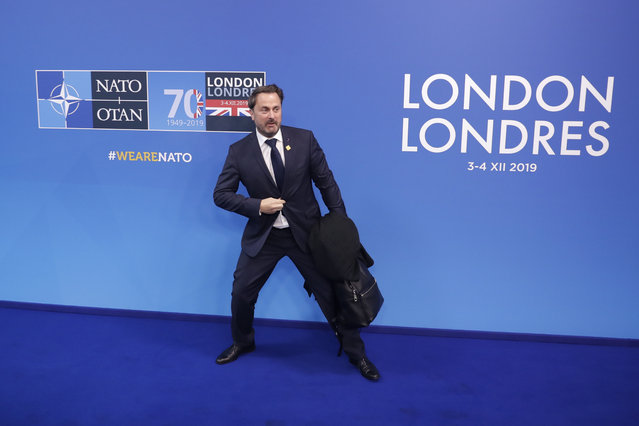 Luxembourg's Prime Minister Xavier Bettel arrives for a NATO leaders meeting at The Grove hotel and resort in Watford, Hertfordshire, England, Wednesday, December 4, 2019. As NATO leaders meet and show that the world's biggest security alliance is adapting to modern threats, NATO Secretary-General Jens Stoltenberg is refusing to concede that the future of the 29-member alliance is under a cloud. (Photo by Matt Dunham/AP Photo)