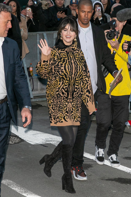 Singer Selena Gomez is seen at NRJ radio station on December 13, 2019 in Paris, France. (Photo by Marc Piasecki/GC Images)