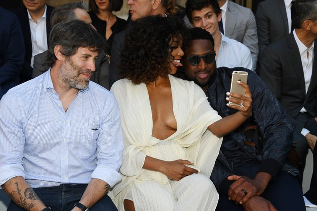 (L-R) Jalil Lespert,Gabrielle Union and Dwyane Wade attend the Berluti Menswear Spring/Summer 2018 show as part of Paris Fashion Week on June 23, 2017 in Paris, France. (Photo by Pascal Le Segretain/Getty Images)