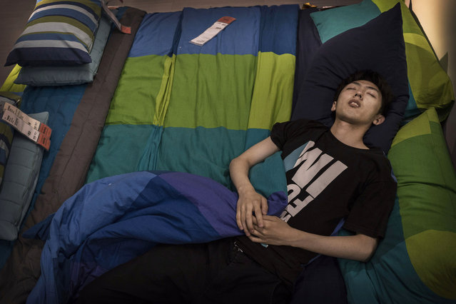 A Chinese shopper sleeps on a bed in the showroom of the IKEA store on July 6, 2014 in Beijing, China. Of the world's ten biggest Ikea stores, 8 of them are in China to cater to the country's growing middle class. The stores are designed with extra room displays given the tendency for customers to make a visit an all-day affair. Store management does not discourage shoppers from sleeping on Ikea furniture, even marking them with signs inviting customers to try them out. (Photo by Kevin Frayer/Getty Images)