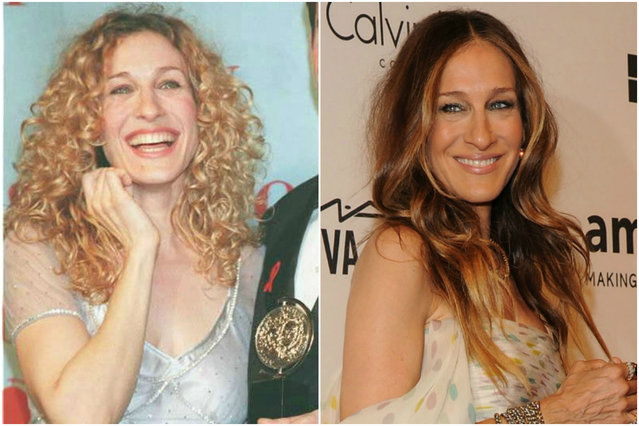 Sarah Jessica Parker in 1995 and today. (Photo by Getty Images)