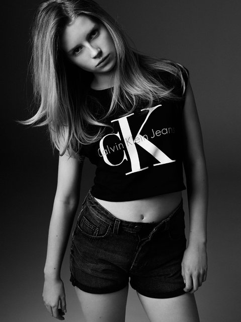 Lottie Moss for Calvin Klein: The capsule collection includes the brand's popular cK t-shirts. (Photo by Michael Avedon)