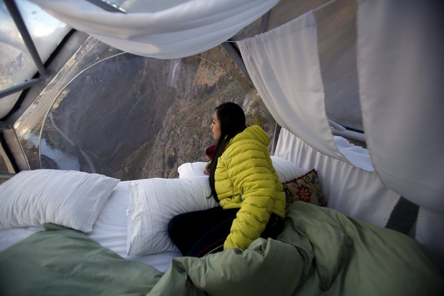 A guest looks out at the landscape from inside a sleeping pod at the Skylodge Adventure Suites in the Sacred Valley in Cuzco, Peru, August 14, 2015. (Photo by Pilar Olivares/Reuters)