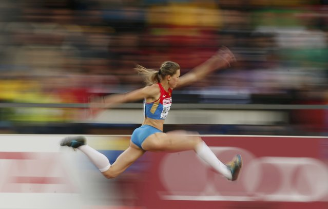 Alsu Murtazina of Russia competes in the women's triple jump qualification during the European Athletics Championships at the Letzigrund Stadium in Zurich August 13, 2014. (Photo by Phil Noble/Reuters)