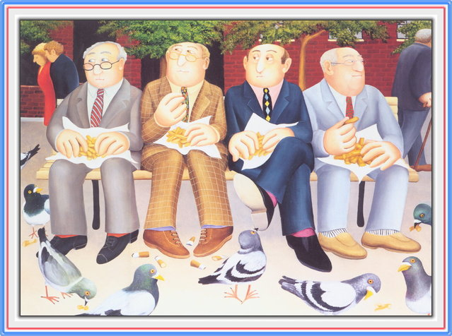 Lunch in the Gardens. Artwork by Beryl Cook