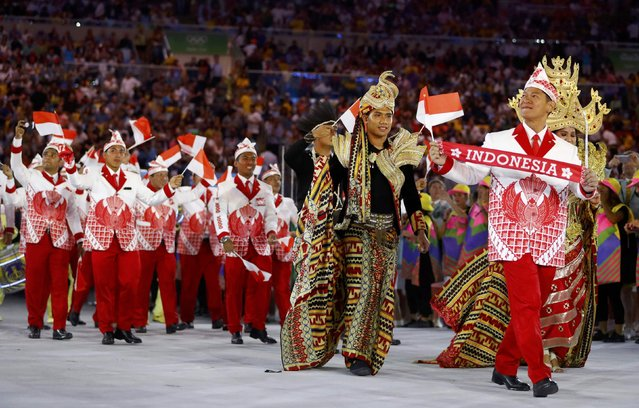 2016 Rio Olympics, Opening ceremony, Maracana, Rio de Janeiro, Brazil on August 5, 2016. Indonesia's athletes during the opening ceremony. (Photo by Kai Pfaffenbach/Reuters)