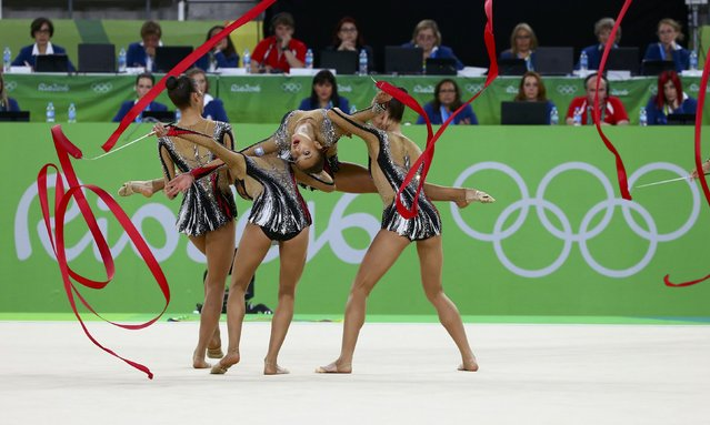 2016 Rio Olympics, Rhythmic Gymnastics, Final, Group All-Around Final, Rotation 1, Rio Olympic Arena, Rio de Janeiro, Brazil on August 21, 2016. Team Israel (ISR) compete using ribbons. (Photo by David Gray/Reuters)