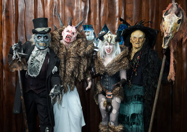 Monsters from Netherworld Haunted House (from left) The Collector, Crampus, the Crampus Queen and Hagatha the Witch at W Atlanta Downtown hotel on Thursday, October 7, 2014. (Photo by Hyosub Shin/AJC)