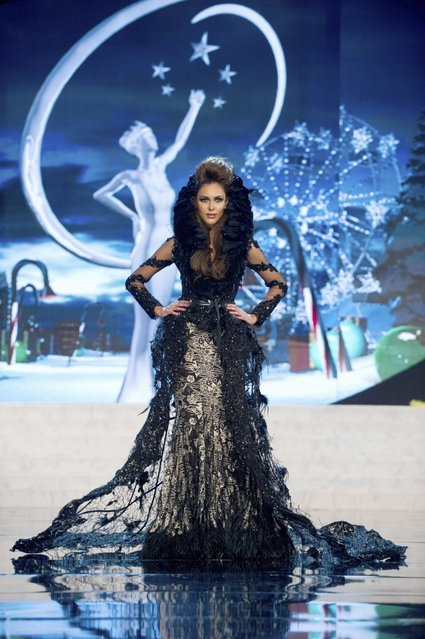 Miss Malaysia Kimberley Leggett on stage at the 2012 Miss Universe National Costume Show on Friday, December 14, 2012 at PH Live in Las Vegas, Nevada. The 89 Miss Universe Contestants will compete for the Diamond Nexus Crown on December 19, 2012. (Photo by AP Photo/Miss Universe Organization L.P., LLLP)