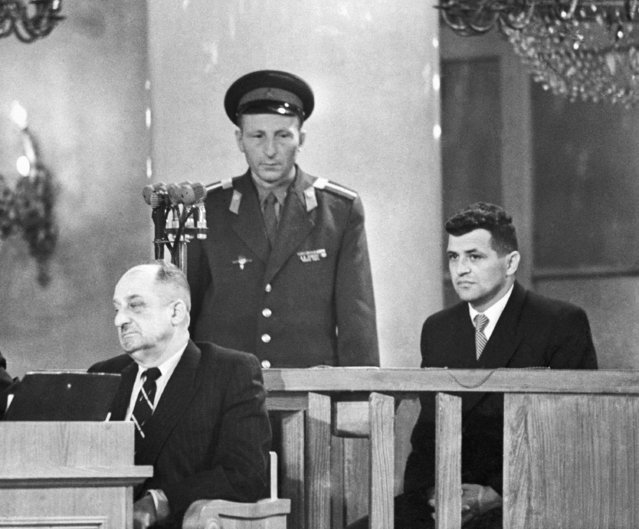 Moscow, Soviet Union. American pilot Francis Gary Powers (R) attends an open session of the Military Board of the USSR Supreme Court on August 19, 1960 in the Pillar Hall of the House of the Unions. As US Central Intelligence Agency officer, Powers was convicted of espionage and sentenced to 10 years imprisonment. On May 1, 1960 his U-2 spy plane was shot down by a surface-to-air missile near Sverdlovsk, Powers himself arrested after landing. (Photo by TASS/AP Photo)