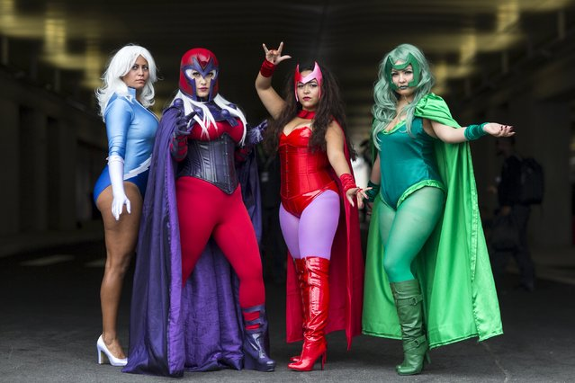 (L-R) Melonie DeJesus, Jessica Caamano, Mariaysabel Vega and Nathali Sanabria pose as (L-R) Quicksilver, Magneto, The Scarlet Witch and Polaris on day two of New York Comic Con in Manhattan, New York, October 9, 2015. (Photo by Andrew Kelly/Reuters)