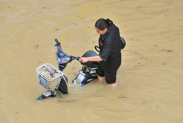 A woman pushes her electric bicycle as she wades through a flooded street after Typhoon Meranti made landfall on southeastern China, in Fuzhou, Fujian province, China, September 15, 2016. (Photo by Reuters/Stringer)
