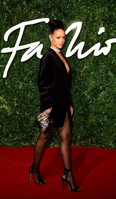 Rihanna arrives at the British Fashion Awards, at The London Coliseum, St Martin's Lane, London, on December 1, 2014. (Photo by Ian West/PA Wire)