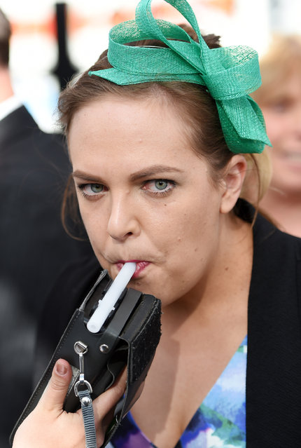 A race goer takes a breath test to see what her blood alcohol level is safe enough to drive after the Geelong Cup on Geelong Cup day at Geelong Racecourse in Melbourne, Wednesday, October 19, 2016. (Photo by Tracey Nearmy/AAP Image)