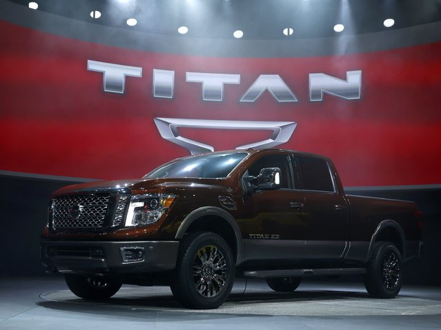 The 2016 Nissan Titan pickup truck is unveiled at the first press preview day of the North American International Auto Show in Detroit, Michigan, January 12, 2015. (Photo by Mark Blinch/Reuters)