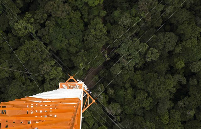 The Amazon Tall Tower Observatory (ATTO) is pictured in Sao Sebastiao do Uatuma in the middle of the Amazon forest in Amazonas state January 10, 2015. (Photo by Bruno Kelly/Reuters)