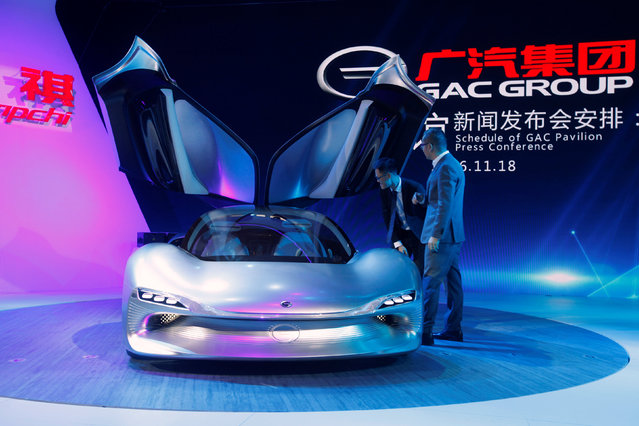 People look at a concept car by Trumpchi from GAC Group at China (Guangzhou) International Automobile Exhibition in Guangzhou, China November 18, 2016. (Photo by Bobby Yip/Reuters)
