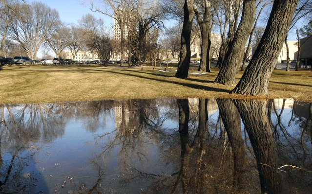 In this January 26, 2015 photo, melted snow collects in a low-lying area near the State Capitol in Bismarck. As a blizzard slams the Northeast, the Northern Plains are seeing record-warm temperatures for the middle of winter. Colder temperatures are expected to return soon. (Photo by Mike McCleary/AP Photo)