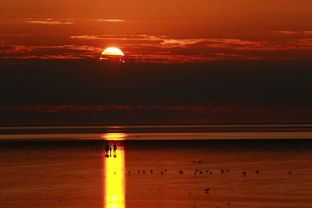 The sun at low tide in Norfolk, UK on July 22, 2018. The Met Office has issued a heatwave alert telling people to stay out of the sun until Friday. (Photo by Paul Marriott/The Guardian)