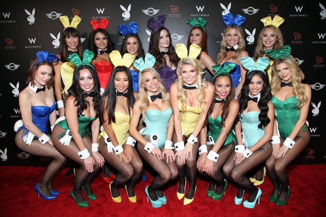 Playboy Playmates arrive at the Playboy Super Bowl XLIX Party on Friday, January 30, 2015 in Scottsdale, Ariz. (Photo by Omar Vega/Invision/AP Photo)