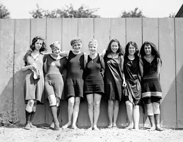 Bare legs and scanty one piece bathing suits were very much in evidence at the opening of Washington's municipal bathing beach today, May 29, 1920. Officials have agreed to disregard as precedents the prohibitory orders issued at Coney Island and Atlantic City. (Photo by Library of Congress)