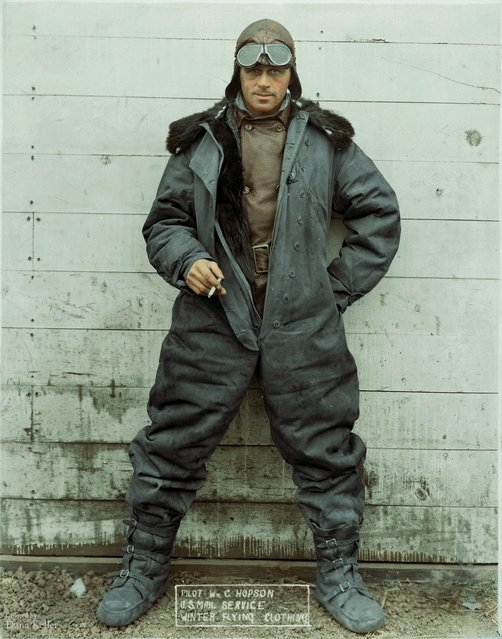 "Pilot William ""Wild Bill"" Hopson, modeling U.S. Mail Service Winter Flying Clothing, ca. 1926."