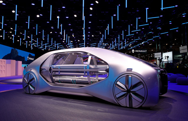 The Renault EZ-GO concept car is on display at the Auto show in Paris, France, Tuesday, October 2, 2018, 2018. (Photo by Benoit Tessier/Reuters)