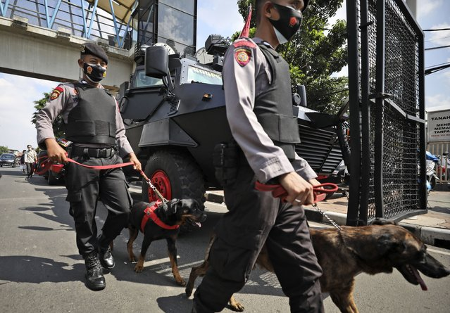 Members of the police K-9 unit lead sniffer dogs past an armored vehicle as they patrol outside the East Jakarta District Court where the sentencing hearing of firebrand cleric Rizieq Shihab is held in Jakarta, Indonesia, Thursday, May 27, 2021. Judges are scheduled to deliver their verdict on the trial of Shihab, the leader of now-banned Islam Defenders Front, who was accused of inciting people to breach pandemic restrictions by holding events attended by thousands of supporters to commemorate Prophet Muhammad's birthday and the wedding of his daughter in November last year. (Photo by Dita Alangkara/AP Photo)