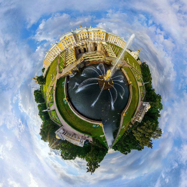 Peterhof Palace and Samson fountain, Saint Petersburg, Russia. (Photo by Airpano/Caters News)