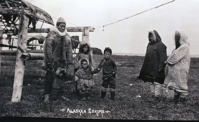 An Eskimo family wear heavy parkas to keep themselves warm in the cold Alaska climate, circa 1910. (Photo by Michael Maslan/Corbis/VCG via Getty Images)