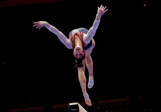 Kayla DiCello of the U.S. in action during the Women's All-Around Final at the World Artistic Gymnastics Championships in Kitakyushu, Japan, October 21, 2021. (Photo by Kim Kyung-Hoon/Reuters)