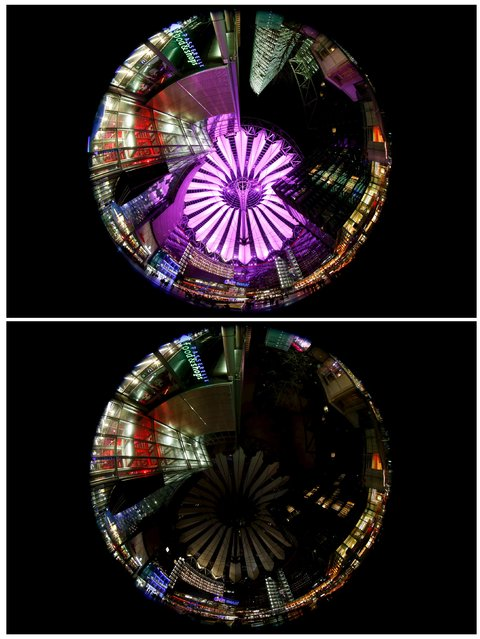 A combination picture shows the Sony Center at the Potsdamer Square before (top) and during Earth Hour in Berlin, Germany March 19, 2016. (Photo by Fabrizio Bensch/Reuters)