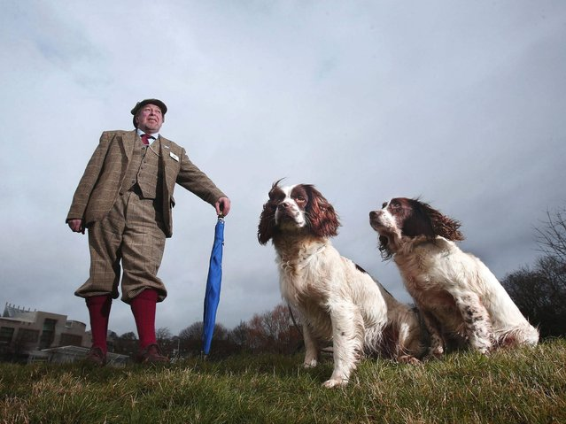 Scottish Gamekeepers Association (SGA) member George MacDonald with his Springer Spaniels Wriggle and Rosie outside the Scottish parliament in Edinburgh, before the SGA presented a 4,158-signature petition to Environment Secretary Richard Lochhead, calling for the ban to be reversed for working dogs on the grounds of animal welfare. (Photo by Danny Lawson/PA Wire)